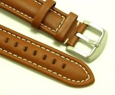 22mm Brown Leather Contrast Stitch Men's Replacement Watch Band - Fossil Watches