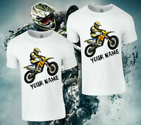 Personalised Motocross T-Shirt, MX Motor Bike Gift Boys Kids & Adults Top