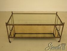 28335:  Decorator Iron Base Coffee Table w. Glass Top & Mirrored Bottom