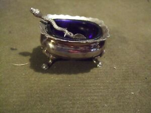 Vintage silver plated Salt Dish & spoon complete with Original Blue Glass Liner