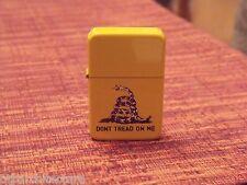 """Don't Tread on Me"":  Gadsden Flag Lighter, Refillable, Yellow Flip Top"