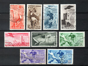 ITALY 1934 ITALIANA FOOTBALL WORLD CUP FIFA COMPLETE SET OF USED STAMPS