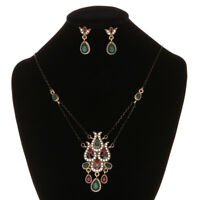 Flower Ethnic Necklace Vintage For Women Earrings Resin Crystal Jewelry Sets