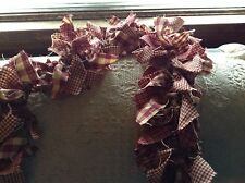 rag garland, Country, primitive 7' burgundy and tan hand made from homespun,swag