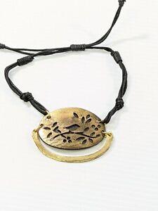 Gold Tone Bird On Branch Oval Black Cord Adjustable Bracelet Boho Style