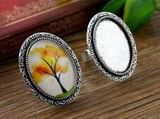 5pcs Antique Silver Oval Adjustable Ring Blanks/Bases | Fit 18x25mm Cabochon