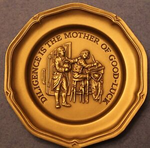 Franklin Mint~Diligence is The Mother Of Good-Luck~Solid Pewter Mini Plate~Fr/Sh