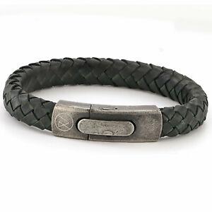 Mens Matt Green Leather bracelet, Engraved bracelet, Hidden Message bracelet