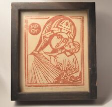 Vintage Jesus Mary Christian Art Greek Icon Wood Cut Mother of God 1961 T.Drain