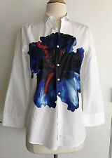 Dsquared2 Woman White Cotton Flower Print On Front Button Down Shirt Size 38