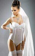 GRACYA NAOMI U/W PADDED BODIE & SUSPENDERS Size 32B ~BNWT~ WHITE 0005