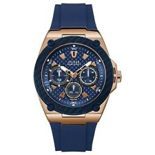 Guess Men's Rose Gold Tone Stainless Steel & Blue Rubber Watch W1049G2