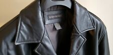 Vintage Banana RepublicBlack Leather 3/4 Car Coat Jacket Buttoned Men's Medium