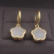 Pure 925 Sterling Silver Dangle Earrings Natural Jade Small Flower Drop Earrings