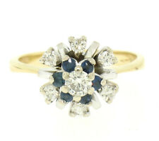 14k Yellow & White Gold 0.65ctw Diamond Sapphire 3 Tiered Starburst Cluster Ring