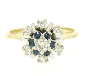 14k Yellow & White Gold 0.65ctw Diamond Sapphire 3 Tiered Starburst Cluster Ring