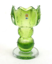 Humppila Glass (Finland) Green Kivi-Set Chalice Vase by Pertti Santalahti 1970s