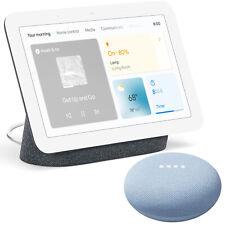 Google Nest Hub Display Gen 2 (Charcoal) + Google Nest Mini 2nd Gen (Sky Blue)