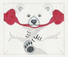 *NEW*  LIZ Polar Bear Roll up 3-D Ornament handpainted Needlepoint Canvas