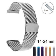 14 16 18 20 22 24mm Magnetic Milanese Loop Watch Strap Stainless Steel Mesh Band