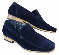 Mens Smart Casual Slip On Square Suede Shoes Red Tan Blue Black Italian