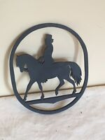 OVAL WOOD CUT OUT BLACK SILHOUETTE OF 1800's GENTLEMEN RIDING HORSE