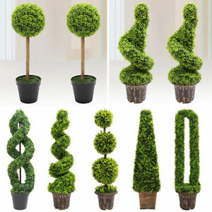 Realistic Potted Topiary Tree Indoor Outdoor Garden Artificial Plant Bush Trees