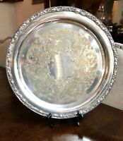 "Victorian Rose 15"" Silver Plate Round Tray By Wm Rogers&Son 1972"