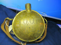 Circa 1880 Fraternal LOOF Heavy  Brass March Canteen With Strap Fine shape