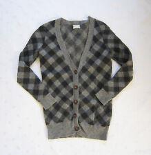 Wallace X Madewell 100% Merino Wool Gray Black Plaid Cardigan Sweater Size XS