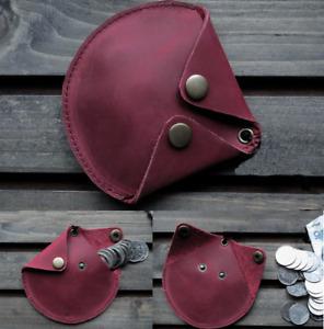 men women wallet purse cow Leather zero coin Case pocket pouch bag wine red 588