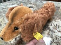 VINTAGE Steiff 1950's Waldi Dachshund Russet Dog Mohair Germany Toy Tag Buttoon
