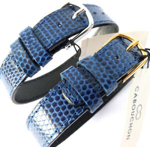 14mm 1 PIECE EASY TO FIT CABOUCHON WATCH STRAP.  BLUE LIZARD GRAIN LEATHER