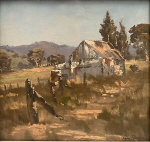 """Orig Oil Painting by Leon William Hanson (Aust 1918 - 2011) """"Untitled Old Barn"""""""
