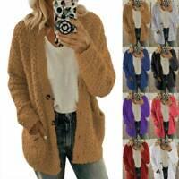 Plus Size Womens Teddy Bear Fleece Cardigan Sweater Coat Fluffy Jacket Outerwear