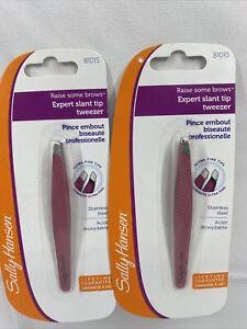 (2) Sally Hansen Raise Some Brows Control Grip Slant Tip Tweezer Safety Cap Pink