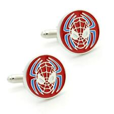 SPIDERMAN CUFFLINKS Super Hero Comic Fan NEW w GIFT BAG Wedding Groom Round Logo