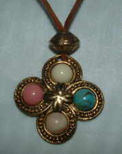 LEATHER ROPE NECKLACE WITH FOUR ASSORTED GEMS CORAL & TURQUOISE-FANCY-