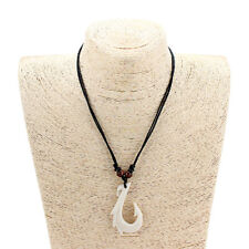 Ethnic Tribal Yak Bone Maori Fish Hook Pendant Necklace Adjustable