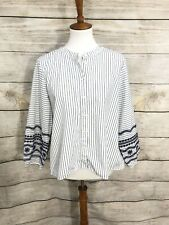 Madewell J. Crew Striped Embroidered Sleeve Shirt Blouse Top Size XL Womens