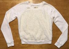 Hollister Women's White Long Sleeve Shag Fuzzy Sweatshirt - Size: XS
