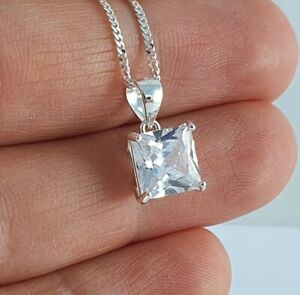 925 Sterling Silver Chain Pendant Necklace Womens Jewellery White Zirconia