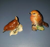 Vintage Beswick Pottery Brown Wren # 993 AND Robin # 980 England Bird Figurine