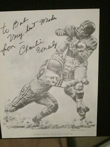 Autographed Charley Conerly Lithograph 1960 Shell Oil - Robert Riger - Giants