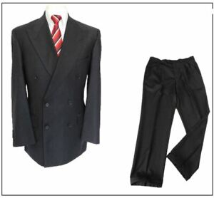 """M&S Vintage Double breasted mens 2 piece suit Ch40""""R W34"""" L31"""" DK Grey Turn ups"""