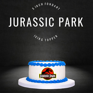 "PRE CUT 5"" Jurassic Park Edible Icing Logo Cake Topper Decorations Birthday"