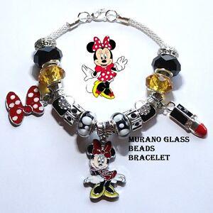Disney Minnie Mouse Red Polka dots Bow Handmade Charm Bracelet Murano Glass bead