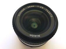 Nikon 28mm f2.8 Ai-S Nikkor Lens & hood - mint condition!
