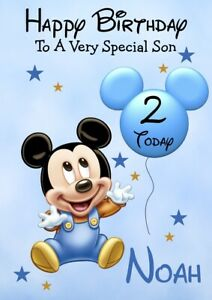 Personalised Mickey Birthday card 1st 2nd 3rd Daughter Son Grandson Grandaughter