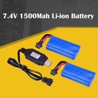 2pcs 7.4V 1500Mah Li-ion Battery USB Charger for UDI902 UDI002 RC Racing Boat